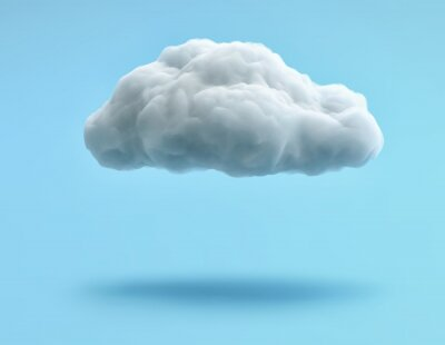 Obraz White cloud isolated on blue background. Clipping path included