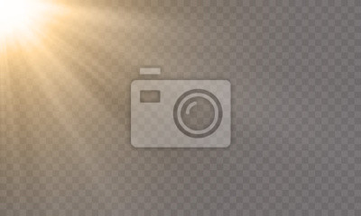 Obraz White glowing light explode effect and sun rays shine on vector transparent background