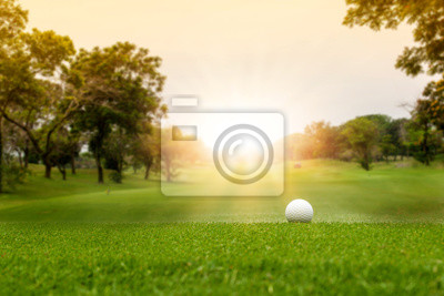 Obraz White Golf ball on green course to be shot on blurred beautiful landscape of golf course in bright day time with copy space. Sport, Recreation, Relax in holiday concept