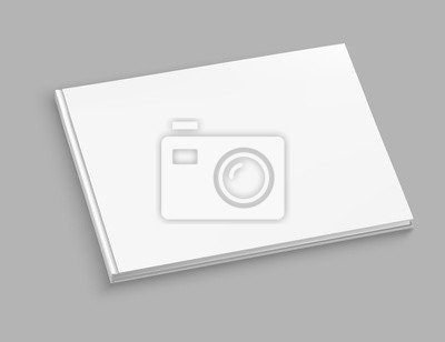Obraz White hardcover album vector mock up on grey table. Closed book top view vector illustration