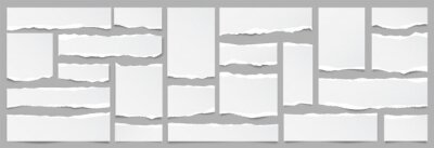 Obraz White ripped paper strips collection. Realistic paper scraps with torn edges. Sticky notes, shreds of notebook pages. Vector illustration.