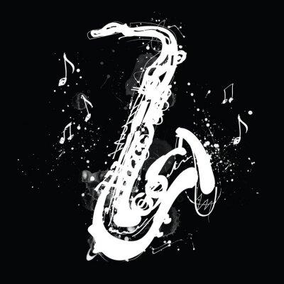 Obraz White silhouette of saxophone with grunge splashes on black background