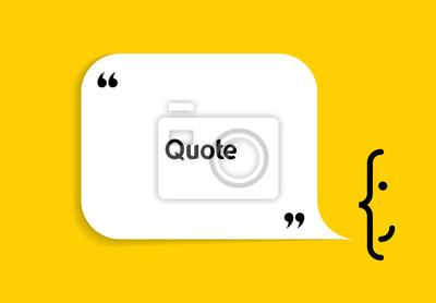 Obraz White speech bubble shape and smile on yellow background. Empty space for creative quote, comment, motivational text, quotation, message. Vector frame template. Modern design element.