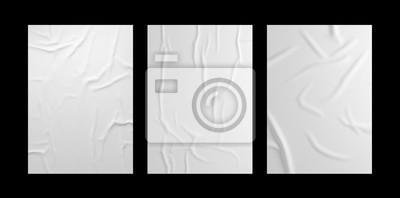 Obraz White wrinkled poster template set. Isolated glued paper mockup.