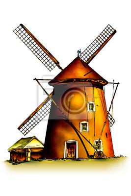 Obraz wiatr retro wiatrak ilustracji w stylu vintage