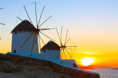 Obraz Wiatraki sunset Mykonos Grecja Cyklady