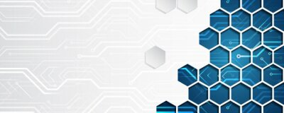 Obraz Wide Hi tech futuristic technology background. Abstract Engineering, Communication, Sci fi concept. Vector design with hexagons.