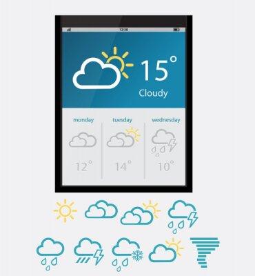 Widgety pogody wektorowej. Ilustracji wektorowych