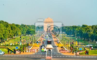 Obraz Widok ceremonialnego bulwaru Rajpath od budynku Sekretariatu w kierunku Bramy Indii. Nowe Delhi