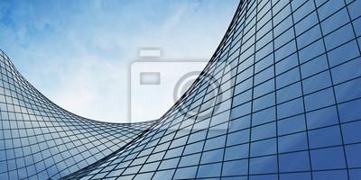 Obraz Widok chmur odzwierciedlenie w biurowcu szkła krzywej. 3d rendering