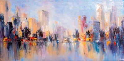 Obraz Widok na panoramę miasta z odbiciami na wodzie. Oryginalny obraz olejny na płótnie,