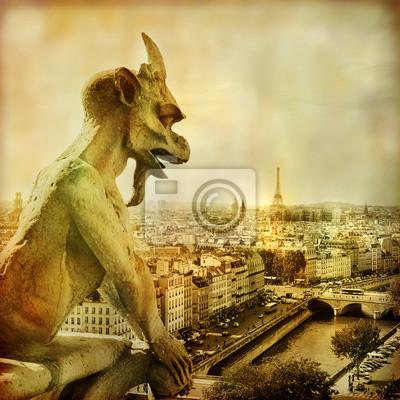 Widok na Paryż z Notre Dame - styl artystyczny obraz
