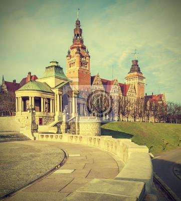 Widok na Wałach Chrobrego w Szczecinie (Stettin), w Polsce, Vinta