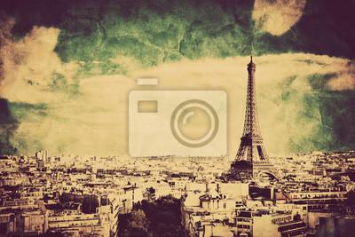 Widok na Wieżę Eiffla i Paryżu, we Francji. Retro styl vintage