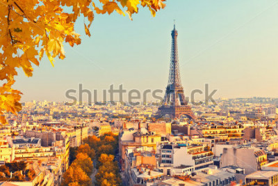 Obraz Widok na wieży Eiffla o zachodzie słońca, Paryż, Francja
