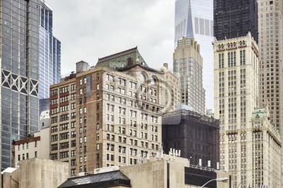 Widok starzy i nowożytni Manhattan budynki, Miasto Nowy Jork, usa.