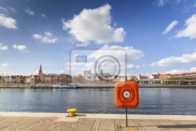 Widok Szczecina, miasta nad Odrą, Polska