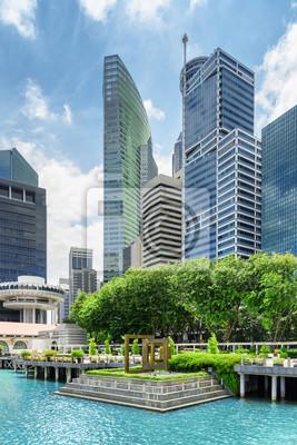 Widok wieżowców w śródmieściu Singapuru. Scenic pejzaż miejski