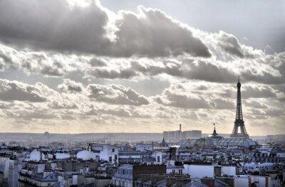 Obraz Widok z dachami Paryża - Wieża Eiffla