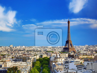 Widok z dachu na wieży Eiffla, Paryż, Francja