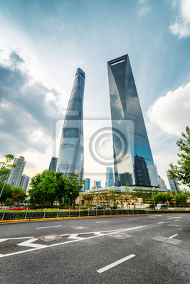 Widok z dołu Shanghai World Financial Center (SWFC), Chiny