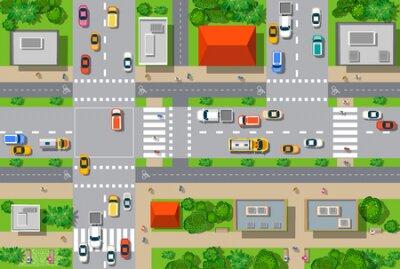 Obraz Widok z góry na miasto z ulic, dróg, domów i samochodów