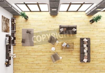 Obraz Widok z góry na nowoczesne wnętrza salonu z kanapą i fotelami 3d render