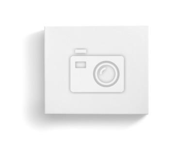 Obraz Widok z góry puste białe pudełko na białym tle na białym tle ze ścieżką przycinającą
