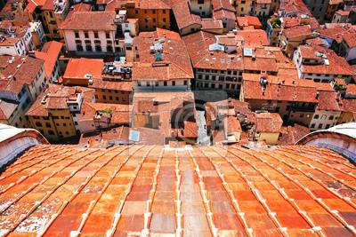 Widok z lotu ptaka czerwone dachy we Florencji