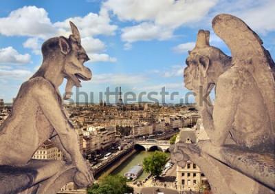 Obraz Widok z lotu ptaka na Paryż, dachy i Wieżę Eiffla z galerii chimer Notre Dame de Paris