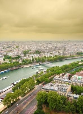 Obraz Widok z lotu ptaka na Seine od Wieży Eiffla, Francja Paryż