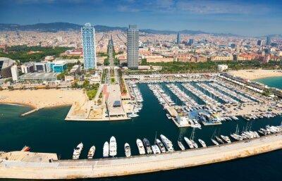 Obraz Widok z lotu ptaka Port Olimpic z helikoptera. Barcelona