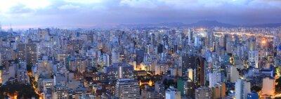 Obraz Widok z lotu ptaka Sao Paulo w czasie nocy