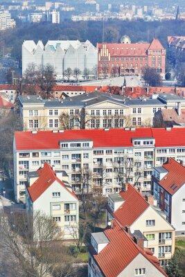Widok z lotu ptaka śródmieścia Szczecina, Polska