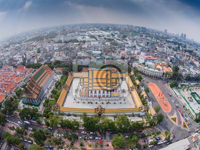 Widok z lotu ptaka Suthat świątyni w Bangkoku prowincji