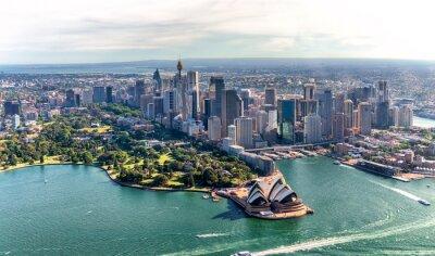 Widok z lotu ptaka Sydney schronienia i śródmieścia linia horyzontu, Australia