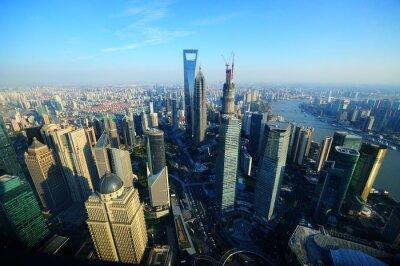 Obraz Widok z lotu ptaka Szanghaju
