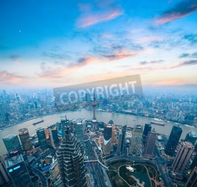Obraz Widok z lotu ptaka z Szanghaju panoramę z pięknym zachodem słońca blask