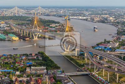 widok z mostu Bhumibol (Bangkok, Tajlandia)