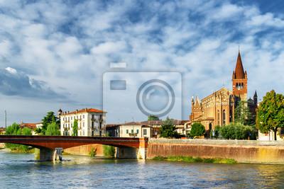 Obraz Widok z Ponte Navi i Świętych Fermo i Rustico, Werona