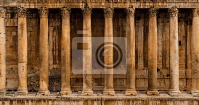 Obraz Widok z przodu kolumnady - Wiersz kolumn starożytnej ruiny świątyni rzymskiej (Świątynia Bacchus w Baalbek)