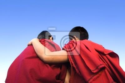 widok z tyłu gospodarstwa innego mnicha mnich ramię