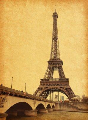 Obraz Widok z wieży Eiffla z Sekwany. Zdjęcie w stylu retro.