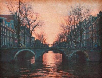 Obraz Wieczór w Amsterdamie, Holandia. Tekstury papieru.