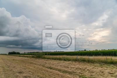 Wiejskich widok w Midwest z chmury i słońca