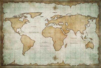 Obraz wieku mapa skarbów z kompasem tle