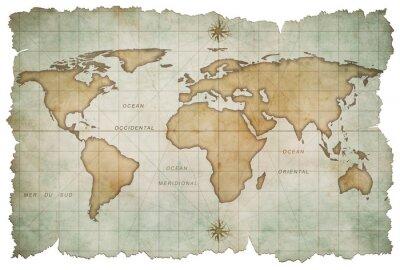 Obraz wieku mapa świata samodzielnie na białym tle