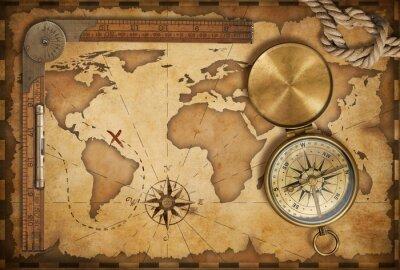Obraz wieku treasure map, linijka, liny i stary mosiądz kompas z pokrywką