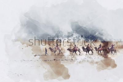 Obraz Wielbłądy i ludzie chodzi na jedwabniczej drodze i piaska diunie pustynia, cyfrowa akwareli ilustracja