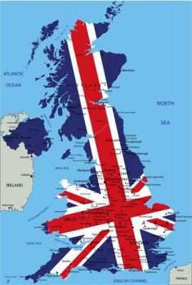 Obraz Wielka Brytania bardzo szczegółowe mapy polityczne z flag narodowych.